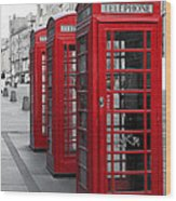 Phone Boxes On The Royal Mile Wood Print