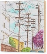 Phone Poles In An Alley - Westwood - California Wood Print