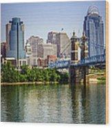 Photo Of Cincinnati Skyline And Roebling Bridge Wood Print