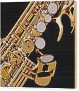 Photograph Of A Soprano Saxophone Color 3355.02 Wood Print