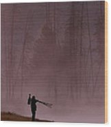 Photographer At Sunrise On The Madison River Wood Print