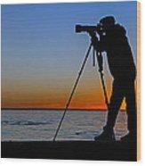 Photographer At Sunset Wood Print