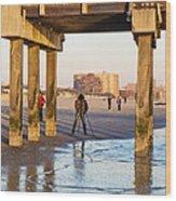Photographer Under The Pier Wood Print