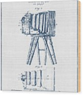Photographic Camera Patent Drawing From 1885- Blue Ink Wood Print