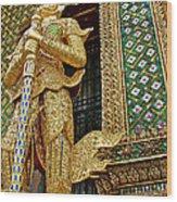 Phra Mondhop At Thai Pagoda At Grand Palace Of Thailand In Bangkok  Wood Print