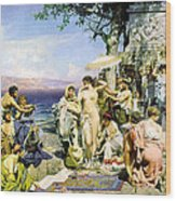 Phryne At The Festival Of Poseidon In Eleusin Wood Print
