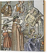 Physician & Plague Victim Wood Print