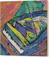 Piano Blue Wood Print
