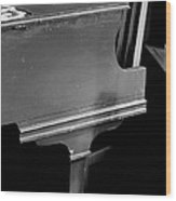 Piano In Black And White Wood Print