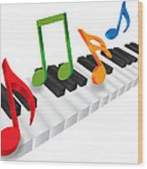 Piano Keyboard And 3d Music Notes Illustration Wood Print
