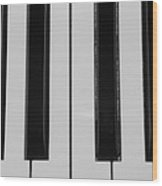 Piano Keys In Black And White Wood Print