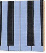 Piano Keys In Cyan Wood Print