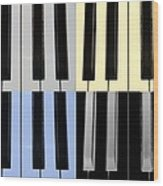 Piano Keys In Quad Colors Wood Print