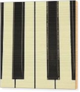 Piano Keys In Sepia Wood Print