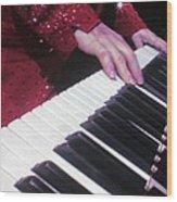 Piano Man At Work Wood Print