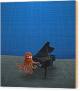 Piano Playing Octopus Wood Print