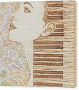 Piano Spirit Original Coffee And Watercolors Series Wood Print