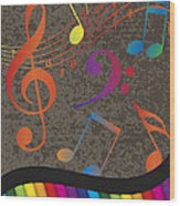 Piano Wavy Border With Colorful Keys And Music Note Wood Print