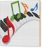 Piano Wavy Keyboard And Music Notes 3d Illustration Wood Print