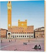 Piazza Del Campo In Siena Wood Print