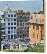 Piazza Di Spagna In Rome Wood Print