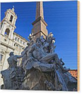 Piazza Navona Fountain Wood Print