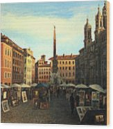 Piazza Navona In Rome Wood Print by Kiril Stanchev
