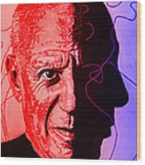 Picasso In Light Sketch 2 Wood Print