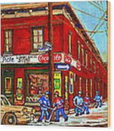 Piche's Grocery Store Bridge Street And Forfar Goosevillage Montreal Memories By Carole Spandau Wood Print