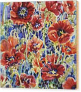 Picket Fence Poppies Wood Print