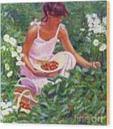 Picking Strawberries Wood Print