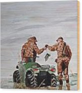 Picking Up The Decoys Wood Print