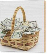 Picnic Basket Full Of Money Wood Print