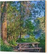 Picnic By The Methow River Wood Print