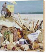 Picnic Display On The Beach Wood Print