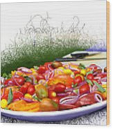 Picnic Fresh Salad Wood Print