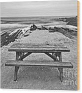 Picnic - Lone Table Overlooking The Ocean In Montana De Oro State Park In Caliornia Wood Print