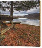 Picnic On The Lake Wood Print