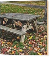 Picnic Table In Autumn Wood Print