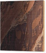 Picture Of An Animal Etched Into Red Wood Print