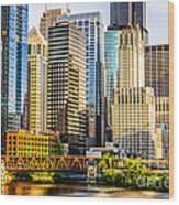 Picture Of Chicago Buildings At Lake Street Bridge Wood Print