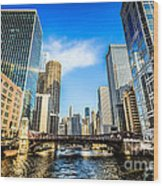 Picture Of Chicago River Skyline At Clark Street Bridge Wood Print