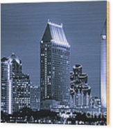 Picture Of San Diego Night Skyline Wood Print by Paul Velgos