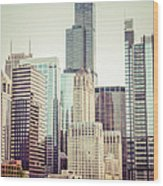 Picture Of Vintage Chicago With Sears Willis Tower Wood Print