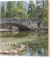 Picturesque Bridge In Yosemite Valley Wood Print