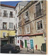 Picturesque Houses In Lisbon Wood Print
