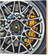 Piece Of Yellow Lamborghini Wood Print