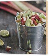 Pieces Of Rhubarb In Metal Bucket And Wood Print
