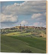 Pienza In The Afternoon Panorama Wood Print