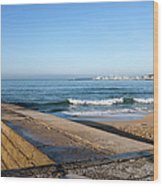 Pier And Beach By The Atlantic Ocean In Cascais Wood Print